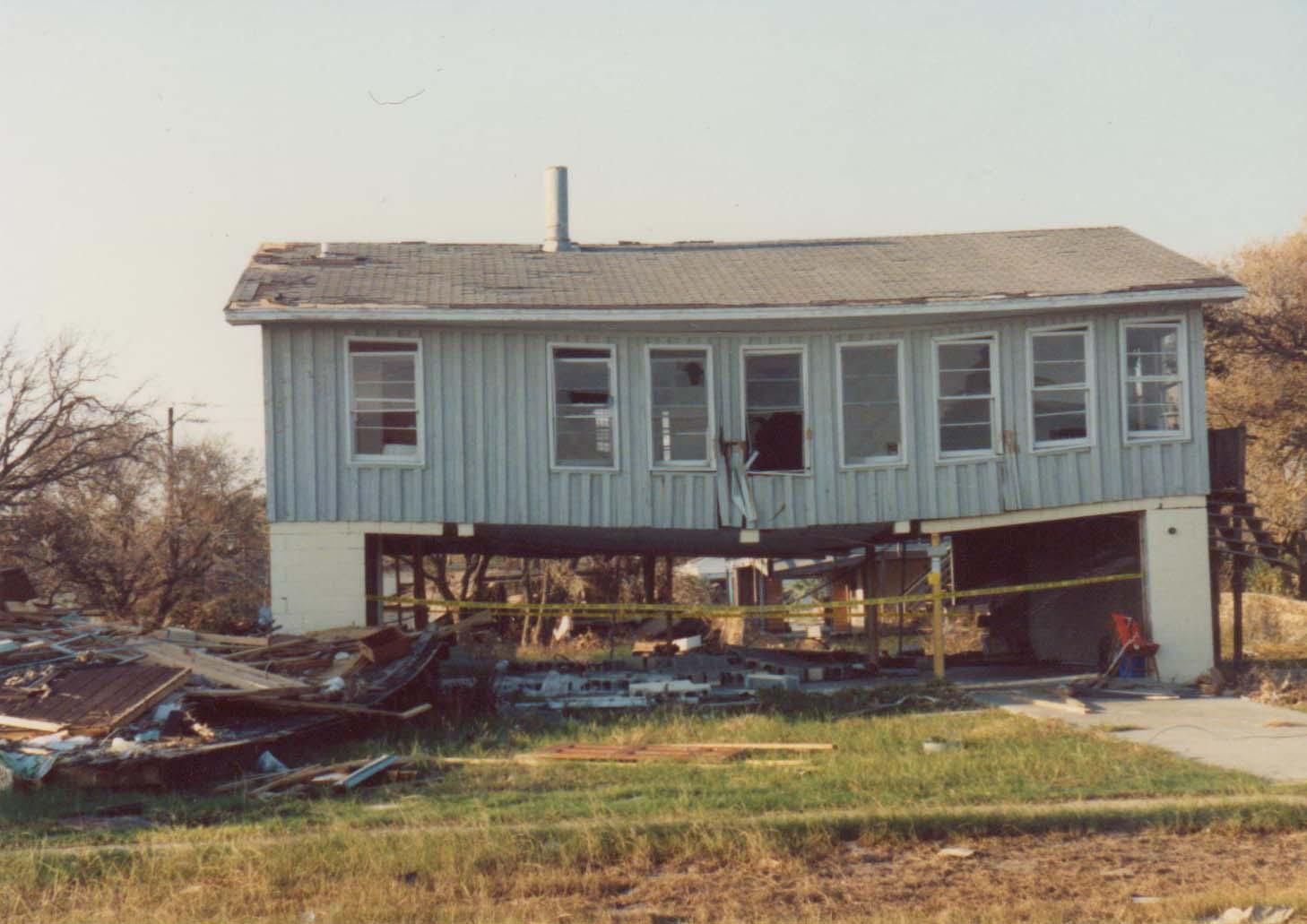 Hurricane Hugo: House broken in half