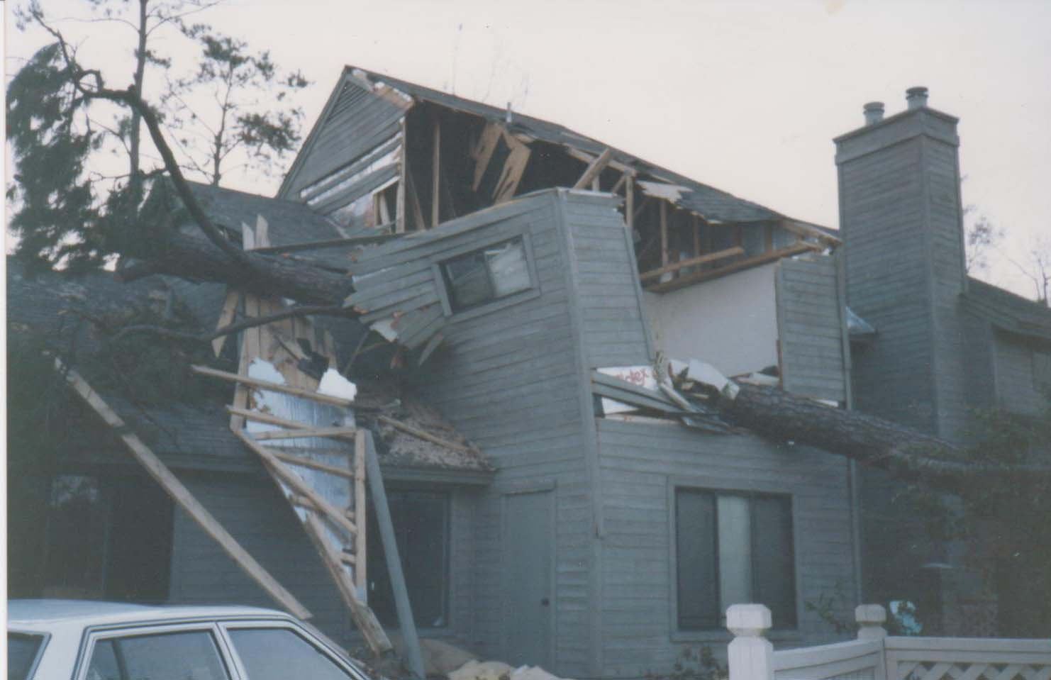 Hurricane Hugo: House with tree smashed in it