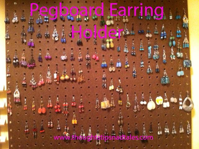 Easy pegboard earring holder