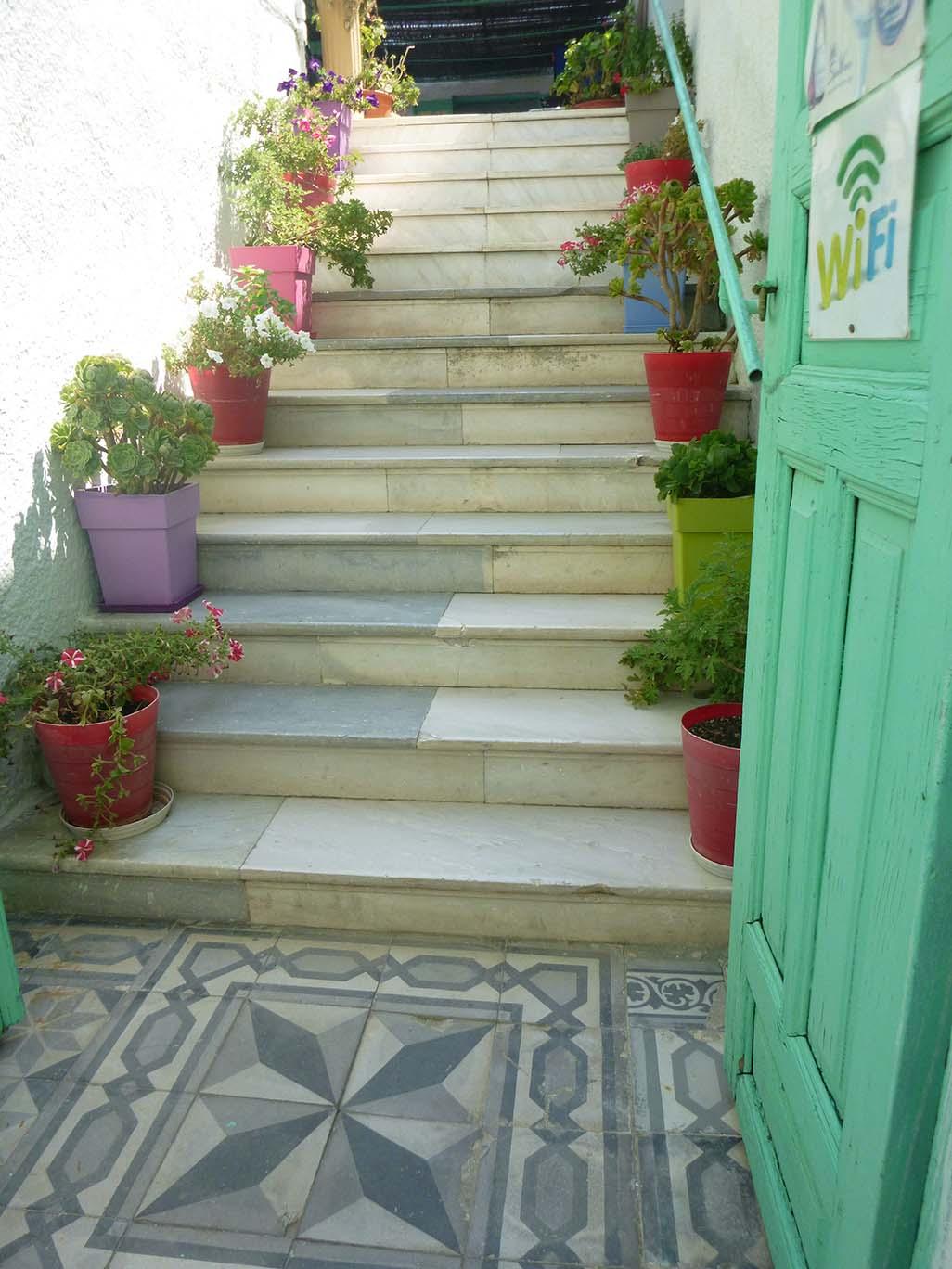 Entrance to wifi restaurant in Santorini