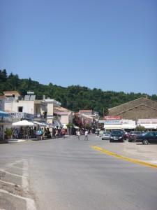Shopping in oceanside village in Katakolon Greece