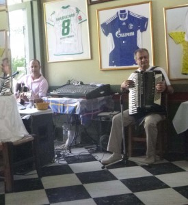 accordian players at greece restaurant in athens greece