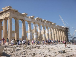 back of acropolis in athens greece