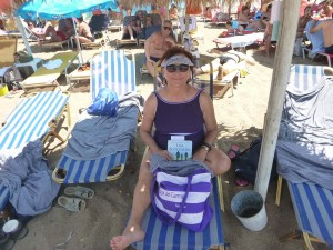 diane at beach in katakol