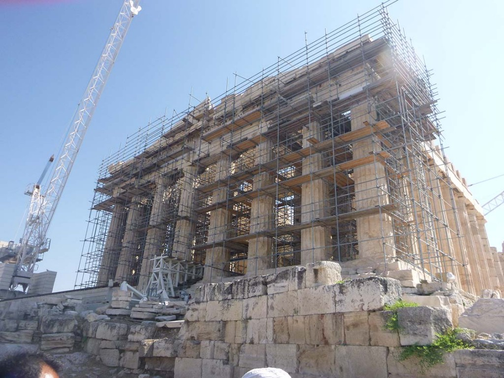 scaffolding front on parthenon in athens greece