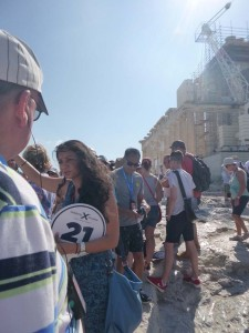 tourguide_and_marble_walkway_at_acropolis in athens greece