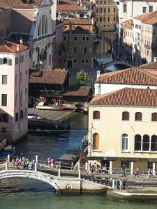 Mediterranean cruise: Venice bridge from cruise ship