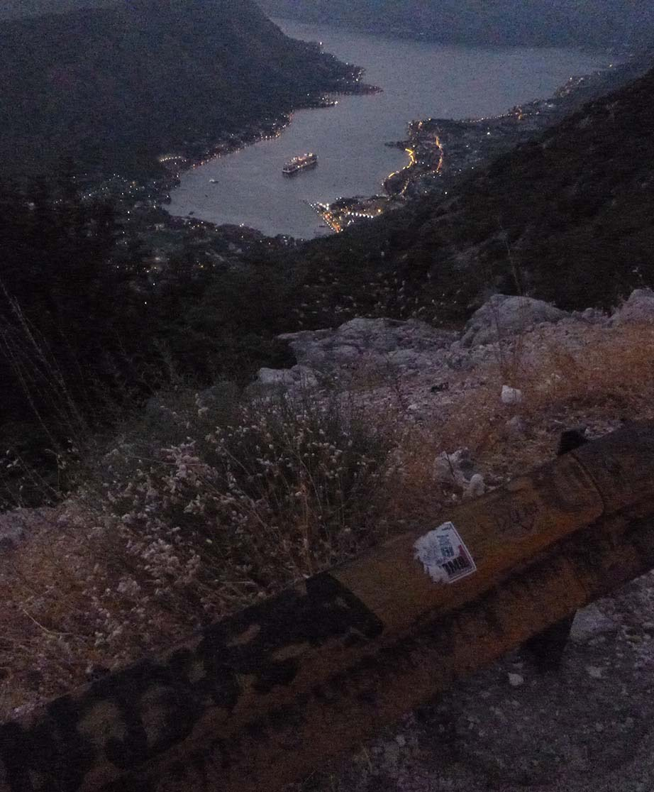 Mediterranean cruise: View from budva to ship in dark