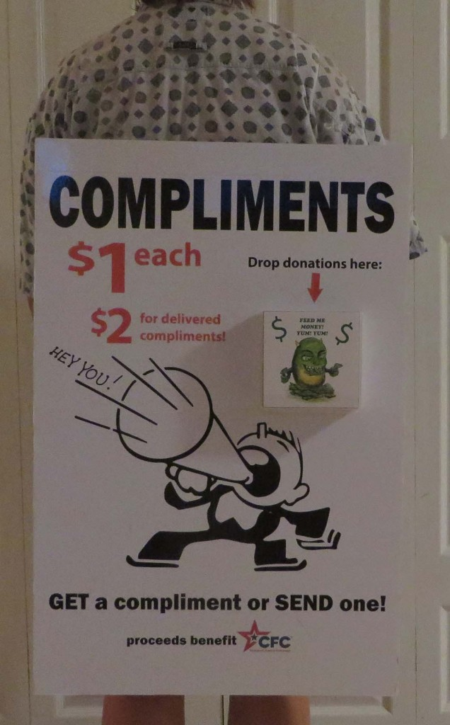 Compliment event fundraiser sandwich board sign