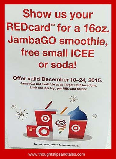 Target cafes offer free drinks through december 24