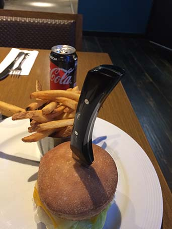 amburger at hard rock cafe in ushuaia, argentina