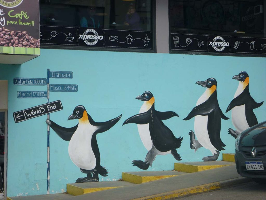 penguin signs in ushuaia, argentina