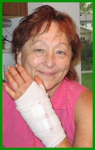 Carpal tunnel surgery woman with bandage