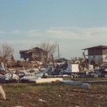 The remains of the houses next door after Hurricane Hugo