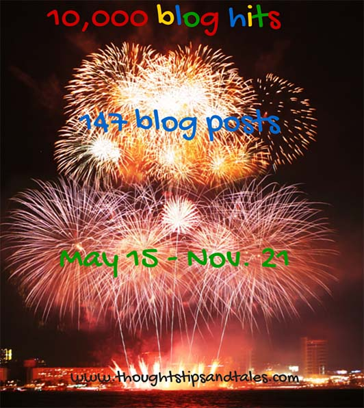 10,000 Blog Hits - May 15 - Nov. 21, 2014 - Thoughts, Tips and Tales