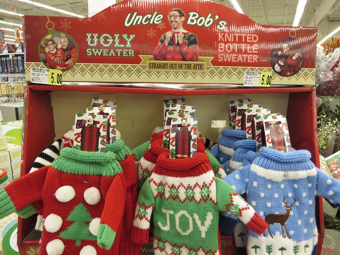 ugly christmas sweater party bottle covers - Ugly Christmas Decorations