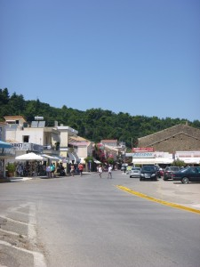 Shopping in oceanside village in Katakolon Greece