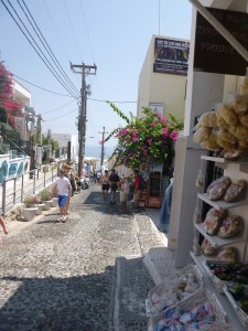 Santorini cobblestone streets and shops