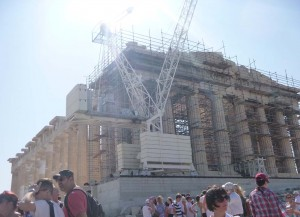 scaffolding on front of parthenon in athens greece