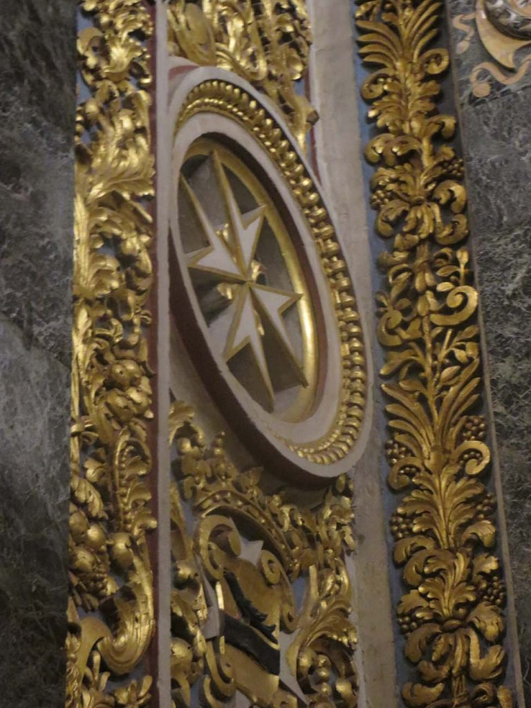 Maltese cross in St. Johns cocathedral in Malta