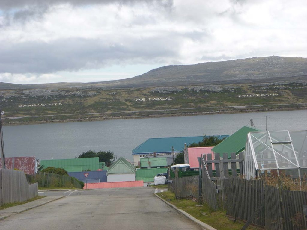 colorful houses on falkland island
