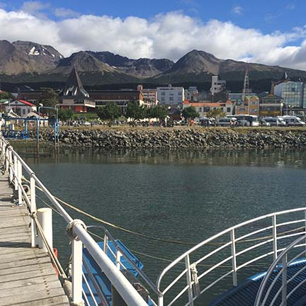 ushuaia, argentina town view from water